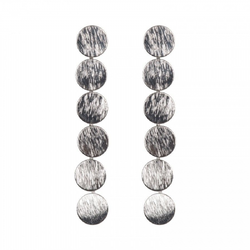 Brushed Antique Silver Long Circle Feature Earrings